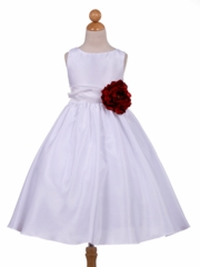Red Flower Accented Flower Girl Dress