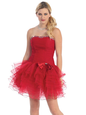 Red Muti-Layered Tulle Short Party Dress