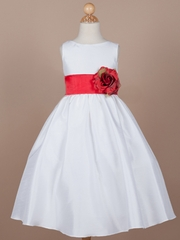 Red Orangza Sash Flower Girl Dress