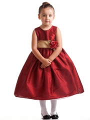 Red Poly Silk Flower Girl Dress with detachable sash