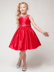 Red Satin  Holiday Dress With Boat Neckline