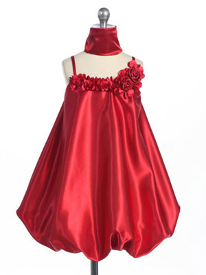 Red Stylish Satin Bubble Dress with Rosette