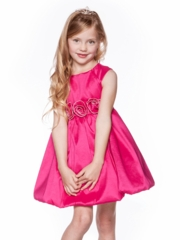 Fuchsia Taffeta Bubble Flower Girl Dress