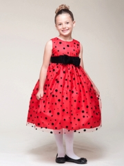Red Tulle Polka-Dot Dress With Velvet Accent