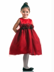 Red Tulle skirt Flower Girl Dress