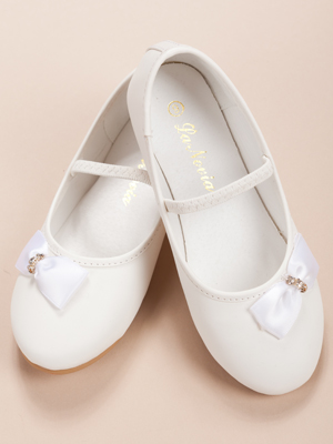 Rhinestone Accented White Side Bow Girl Shoes