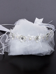 Rhinestone Floral Communion Wreath With Veil