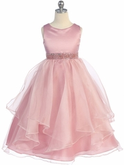 Rose Simple Satin and Organza Layered Flower Girl  Dress