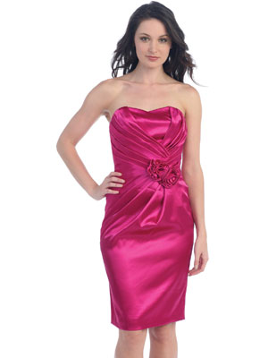 Rosette Accented Bridal Satin Short Prom Dress