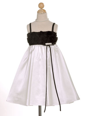 Rosette Bodice with Spaghetti Straps Girl Dress