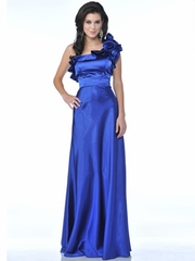 Rosette Inspired One Shoulder Long Prom Dress