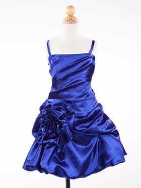 Royal Blue Rose Accented Short Holiday Girl Dress
