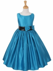 Royal Boat-neck Satin Dress with Sequence