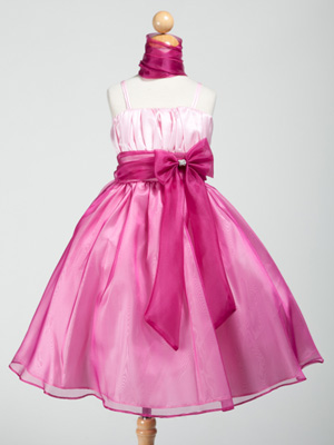 Fuchsia Ruched Bodice Organza Flower Girl Dress