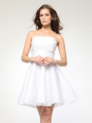 Ruched Bodice with Flared Skirt Party Dress