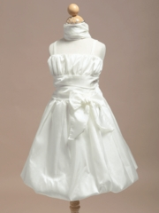 Ruched Spaghetti Straps Short Flower Girl Dress