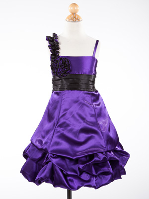 Ruffled Strap with Rosette Accent  Gathered Holiday Dress