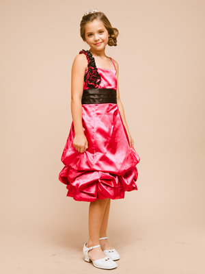 Ruffled Strap with Rosette Accent  Graduation Dress
