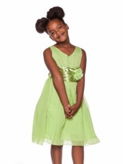 Sage Graduation Dress with Pin-on Flower
