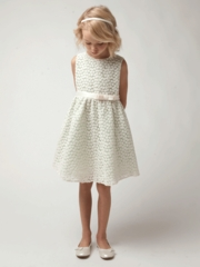 Sage Small Flower Embroidery Flower Girl Dress
