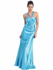 Satin A-Line Long Prom Dress