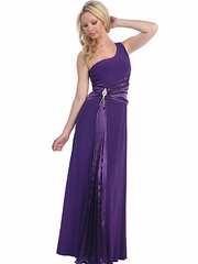 Satin Accented Long Prom Dress