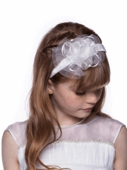 Satin and Organza Headband with Accented Bow