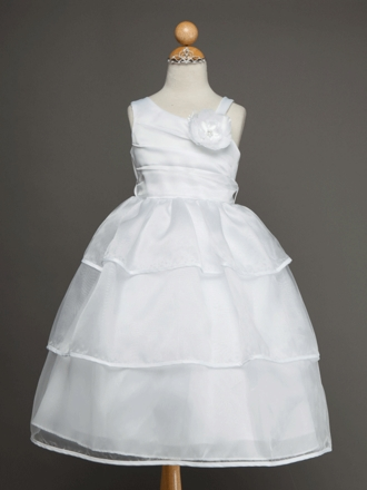 Satin and Organza Overlay Flower Girl Dress