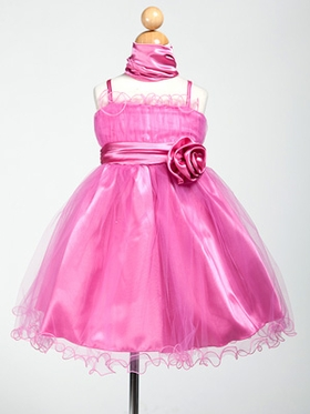 Satin and Ruffled Tulle Flower Girl Dress with Shawl