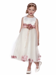 Satin and Tulle Floral Accent  Dress with Organza Sash