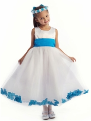 Satin and Tulle Floral Dress with Organza Sash