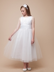 Satin and Tulle  Overlay Flower Girl Dress
