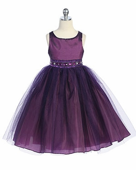 Satin and Tulle with Rhinestone Beaded Flower Girl Dress