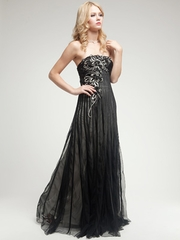 Satin Black Long Dress with Embroidery