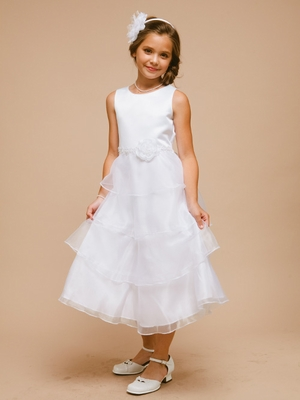Satin Bodice with Organza Tiered Skirt Flower Girl Dress