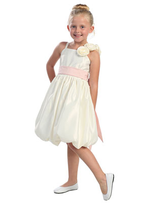 Satin Bubble Flower Girl Dress with Hand Rolled Flowers