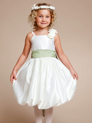 Satin Bubble Flower Girl Dress with Rosette Accented on the Strap