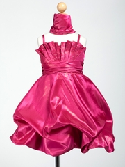 Satin Bubble Short Flower Girl Dress with Shawl