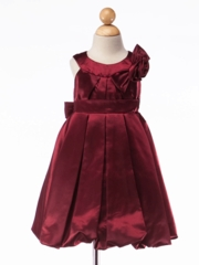 Satin Bubble Skirt Dress with Hand-Rolled Rosette