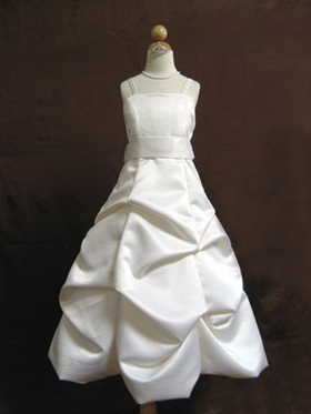Satin Bustled Skirt  Flower Girl Dress