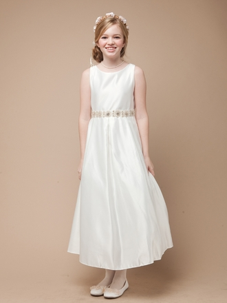 Satin Dress with Pearl and Rhinestoned Trim