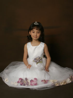 Satin Floral Petal Flower Girl Dress