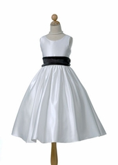 Satin Flower Girl Dress with Organza Sash