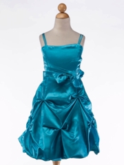 Satin Gathered Dress with Spaghetti Straps