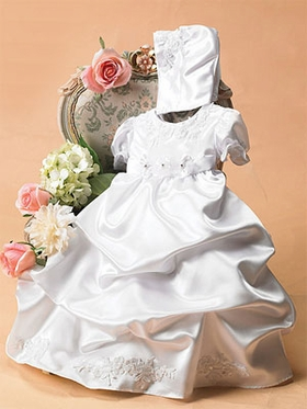 Satin Gathered Skirt Christening Dress