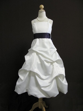 Satin Gathered Skirt Flower Girl Dress