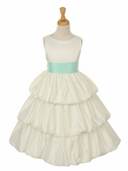 Satin Multi Tiered Bubble Flower Girl Dress