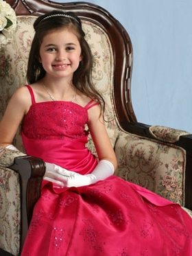 Satin Overlap Organza Beaded Flower Girl Dress