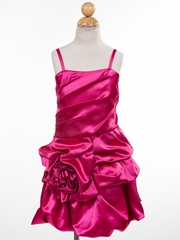 Satin Rose Accented Short Flower Girl Dress