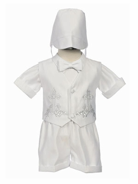 Satin Short Boy Christening Set